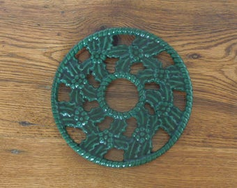 Vintage French Cast Iron Enameled Trivet Pot Holder Christmas Holly Berry Wreath