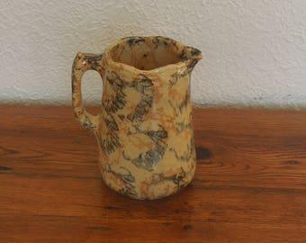 "Antique Spongeware Pottery Pitcher Stoneware Yelloware 7"""