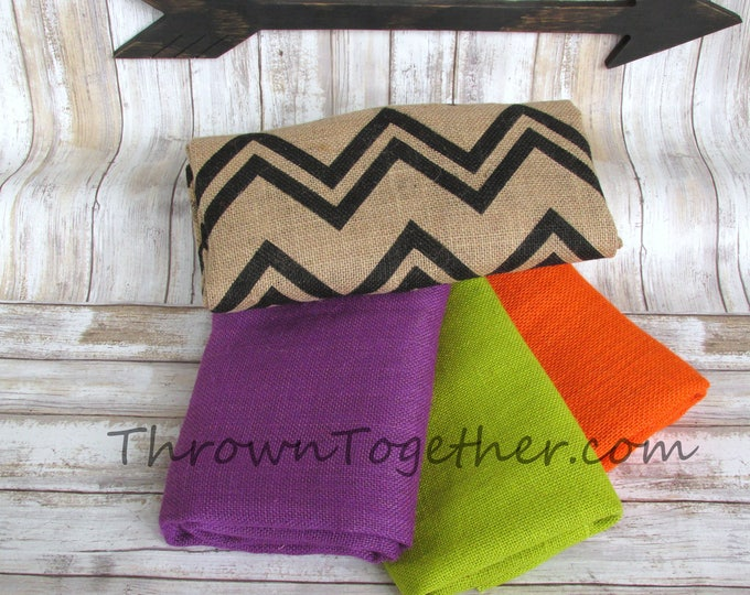 DIY Burlap Supplies, Halloween Burlap Pack, Burlap Fabric Bundle, Chevron Burlap Fabric, DIY Craft Supply, 4pc burlap craft supplies