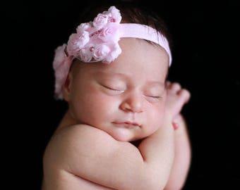 Bow Headband, Baby Bow Headband, Swarovski Headband, Baby girl Headband, Photo Prop, Pink Headband, Ivory Headband, Rosette bow headband