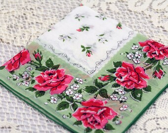 Vintage Hankie  w/ Beautiful Pink Flowers on Green White #R-47