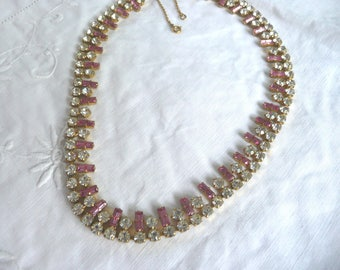 Vintage rhinestone necklace - 1950s pink and white glass necklace - mid century rhinestone choker - 1950s costume necklace