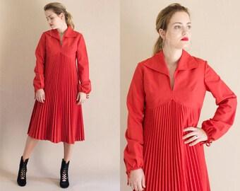 1970s Dress - Vintage 70s Tomato Red Pleated Empire Waist Dress - True Love Dress