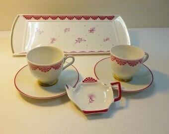 """Monochrome flowers"" tea rose Limoges porcelain"