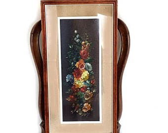 SALE Vintage Italian Bouquet of Flowers Still Life Painting in Wood Frame Original Oil Painting Signed Amateur Painting Bouquet of Flowers