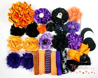 Halloween Flower Headband Kit  - Mixed Orange/Black/Purple Color- Make 12 headbands- Halloween-Flowers ,Elastic,Rhinestones, Felt n Bow