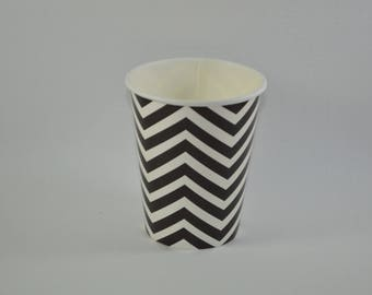 8 cups cardboard black chevron pattern