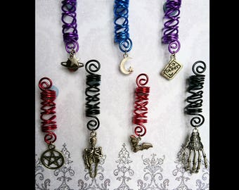 Dreadlock charms - spiral coil silver crescent space lunar galaxy skeleton occult bat
