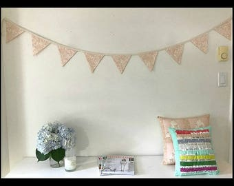 Light Pink Peach Floral Les Fleur Bunting by Rifle Paper Co. for Cotton and Steel with Handmade Bias Tape Baby Shower Decorations Flags