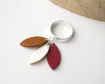 Ring, Petals, Leather, Camel, Gold, Carmine