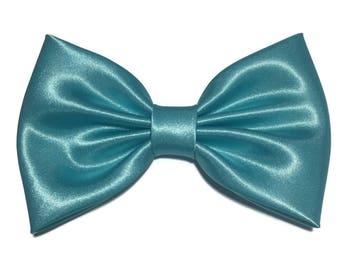 Blue Hair Bow, Satin Hair Bow Clip, Bows For Women, Kawaii Bows, Handmade Bow, Satin Fabric Bow, Lolita, Big Bow, Baby Girl Bow,  ST041
