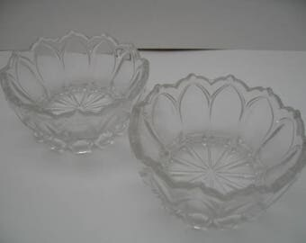 Vintage Small Pressed Glass Bowls With Teardrop Pedestal Base & Steeple Rim, Set of Two