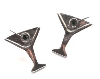 "Vintage A H D Sterling Silver Martini Glass Earrings ""Shaken, Not Stirred""  Olives included.  Mexico 925"