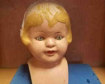 doll baby - composition baby doll head, sleeper eyes, sweet fun piece for display or assemblage