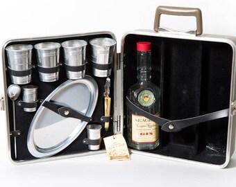 Ever-Wear Executain 101 Trav-L-Bar Mid Century Bartending Picnic 1950s Travel Bar Original Box
