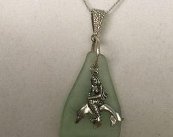Seaglass Mermaid  and Dolphin Necklace