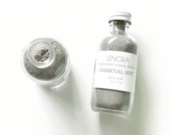 Organic Facial Mask | Charcoal Mint | Handmade | perfect for travel | 2 oz glass bottle
