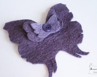 large Butterfly hair clip or brooch in indigo purple felt