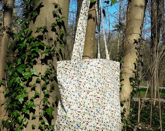 tote bag / purse in blue, green and red floral cotton