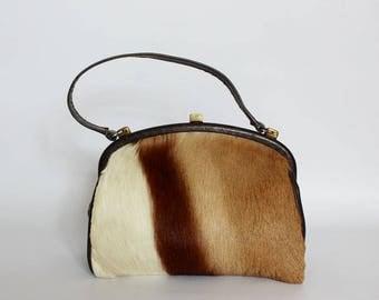 Authentic vintage 1950s handbag,shoulder bag, Kelly bag, Made in England, real spring brook leather