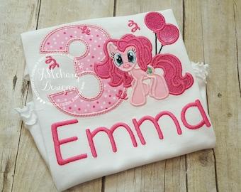 Pinkie Pie My Little Pony Birthday Custom Tee Shirt - Customizable -  Infant to Youth 2 pink