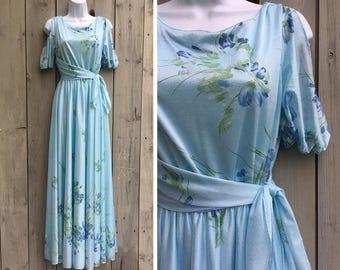 Vintage dress | 1970s pale blue cold shoulder floral print gown with sash