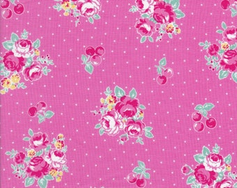 Pink Rose Cluster - Pink Flowers - Cherry Fabric - Polka Dots - Flower Sugar Berry Fabric - Lecien Fabric