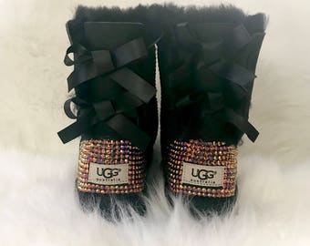 KIDS bling bailey bow ugg boots- girls bling bailey bow uggs - custom ugg boots - crystal ugg boots -bling uggs - sparkly black ugg boots-