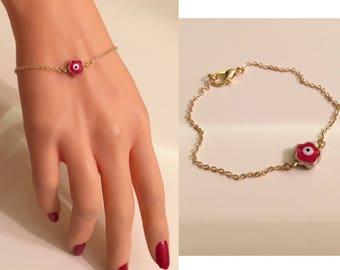 Daisy Evil Eye Bracelet/Anklet,Gold Plated Evil Eye Bracelet,Jewelry,Cute Bracelet ,Gold plated ,Evil Eye Jewelry,Girls Graduation Gift