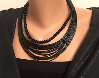 Black Multi Strand Leather Necklace, Stylish Necklace, Leather Necklace, Black Crystal Necklace, Layared Necklace, Gift for Her, Valentines