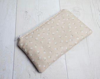 Small cotton zipper pouch