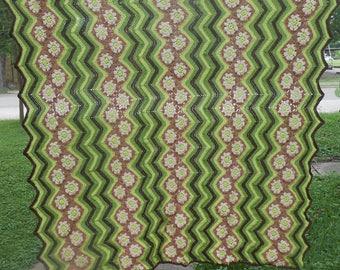 Vintage Handmade Afghan Granny Square Crochet Lap Blanket Throw