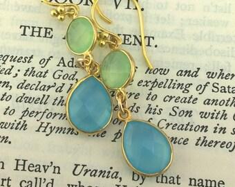 Fresh Green Chalcedony and Cornflower Blue Chalcedony Teardrop Earrings