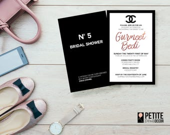CHANEL Fashion Couture Bridal Shower Engagement Birthday Party Digial Invitation