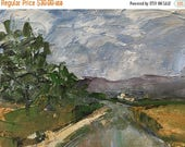 ON SALE Landscape, 4x6 inch oil painting, oil on unstretched canvas, impressionist, painting, small format art, country road, modern impress