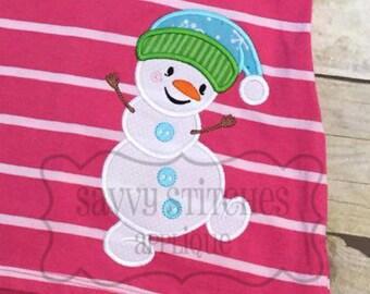 Happy Snowman Machine Embroidery Applique Design