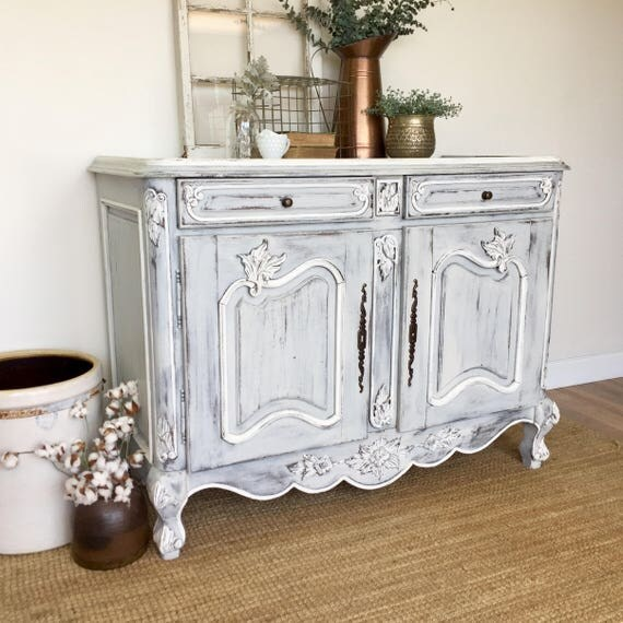 Antique Sideboard Buffet, French Country Furniture, White Buffet Cabinet, Louis XV, Shabby Chic Furniture, TV Media Console, Storage Cabinet