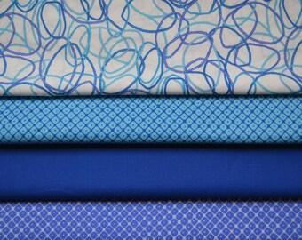 Fat Quarter Fabric Bundle, Mystic, Kona, Robert Kaufman - Aqua and Royal Blue, Cotton Material - Quilting, Clothing, Craft - 4 Fat Quarters