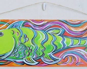Lime Fish - 10x32 Inch Acrylic on Masonite - A Pop Art Original Painting