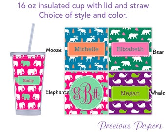 Personalized Tumblers with lid and straw - moose tumbler, elephant tumbler, bear tumbler, whale tumbler, moose cup, elephant cup, whale cup,