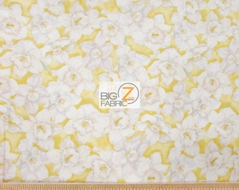 100% Cotton Fabric By Wilmington Prints - Walking On Sunshine White/Yellow - By The Yard (FH-3437) Clothing Decor Accessories