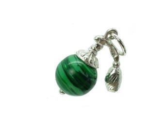 Sterling Silver Malachite Atomiser Charm For Bracelets