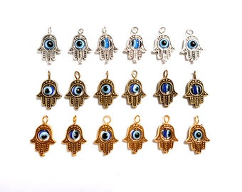 6 Antique Silver, Antique Bronze Or Antique Gold Evil Eye Hamsa Hand Charms - 30-27-2