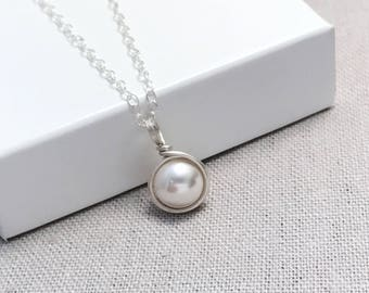 Pearl Necklace Sterling Silver | Simple Pearl Necklace | June Birthstone | Pearl Jewellery UK