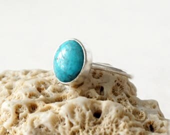 Turquoise Stacking Ring, Size 9 - Turquoise Ring, Turquoise Jewelry, Stacking Jewelry, Stacker Ring, Sterling Silver Ring Jewelry