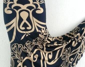 Flamenco rehearsal skirt ballroom stretch tribal navy blue and beige size S/M