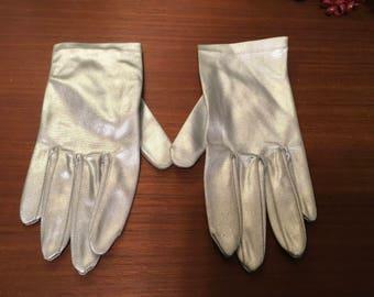 Vintage 60's  stretch silver lame formal  gloves