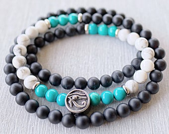 Triple wrap bracelet Mens beaded bracelet Onyx, Howlite, Turquoise gemstone bracelet men Meditation beads Mala bracelet Eye of Horus jewelry