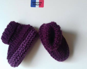 handmade two-tone plum 8/0 months Bootee