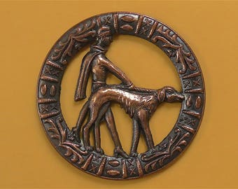 Lady with Borzoi button, Art Deco, vintage.  An elegant 1920's lady with a Borzoi?, pressed pierced metal, tinted copper. c1970.
